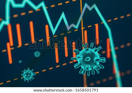 Graphs representing the stock market crash caused by the Coronavirus Royalty-Free Stock Photo #1658501791
