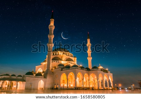 Dubai Tourism and Travel Spot Sharjah New Grand Mosque second largest mosque in Middle east, Beautiful night view of mosque with stars and moon, Amazing Islamic architecture design  #1658580805