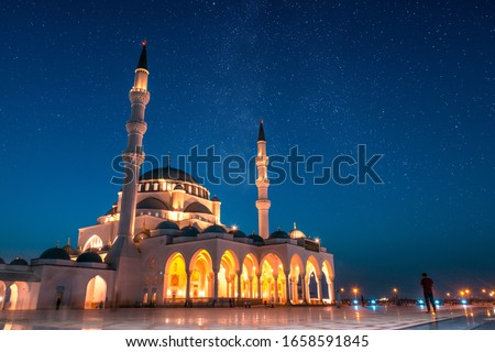 Sharjah Grand Mosque Night View,Sharjah Travel Tourism Image,Best Places to visit in Dubai, Amazing architecture Design, Islamic concept Ramadan and Eid Background 2020, Beautiful Mosque in the world  #1658591845