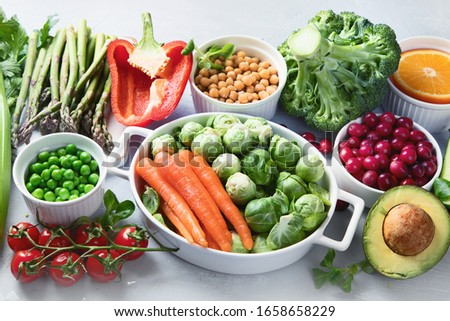 Vegan diet food. Selection of rich fiber sources vegan food.Foods high in plant based protein, vitamins, minerals, anthocyanins, antioxidants. #1658658229
