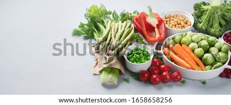 Vegan diet food. Selection of rich fiber sources vegan food.
