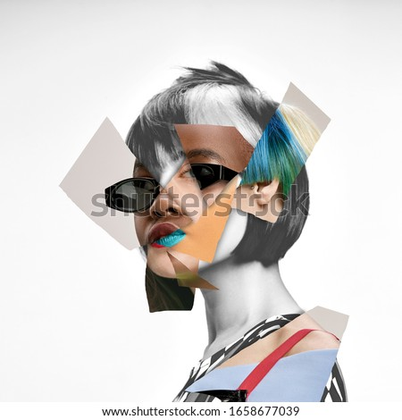 Young woman's portrait made of different pieces of faces, modern art collage. New vision of beauty and fashion, make up, hairstyle. Modern style, contemporary view of emotions, feelings. Royalty-Free Stock Photo #1658677039
