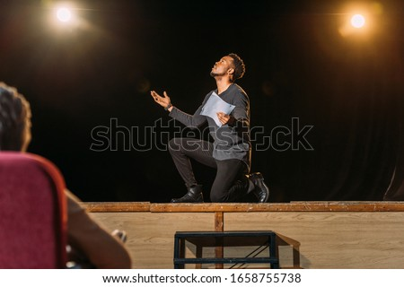 african american actor on casting with theater director Royalty-Free Stock Photo #1658755738