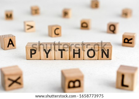 Python - words from wooden blocks with letters, a high-level general-purpose programming language python concept, white background