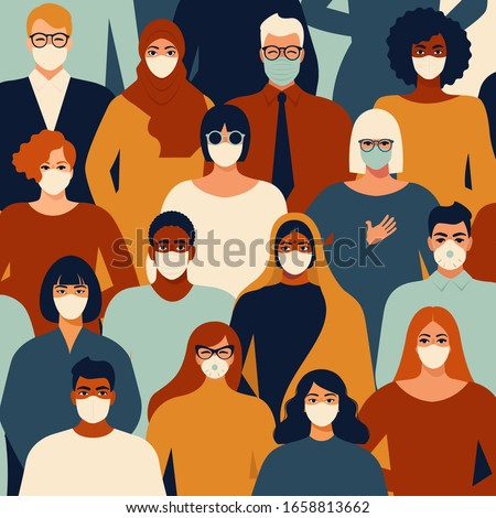 Coronavirus in China. Novel coronavirus (2019-nCoV), people in white medical face mask. Concept of coronavirus quarantine vector illustration pattern. #1658813662