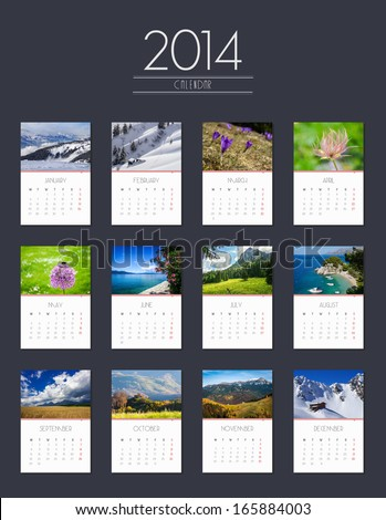 Photo calendar for 2014 - flat design user interface