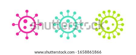Colored vibrant virus icons. Circle virus icons, symbols. Coronavirus, COVID 19, 2019-ncov signs. Vector illustration. #1658861866