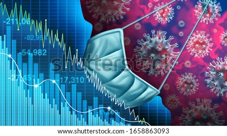 Economy and disease as an economic pandemic fear and coronavirus fears or virus Outbreak and Stock market selling as a sick financial health business recession concept with 3D illustration elements.