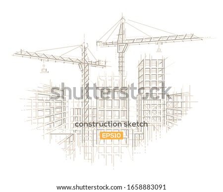 Construction site architectural sketch drawing. Vector, layered.  Royalty-Free Stock Photo #1658883091