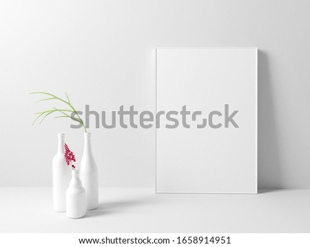 Interior poster mock up with vertical empty frame standing on floor and  decorated. 3D rendering. #1658914951
