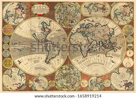 Great Detail of the world map in vintage style with mountains, trees, cities and main rivers on a old parchment background. #1658919214