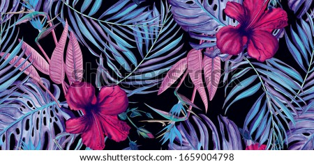 Tropical stylized watercolor pattern with hibiscus, palm leaf and monster leaf on black background #1659004798