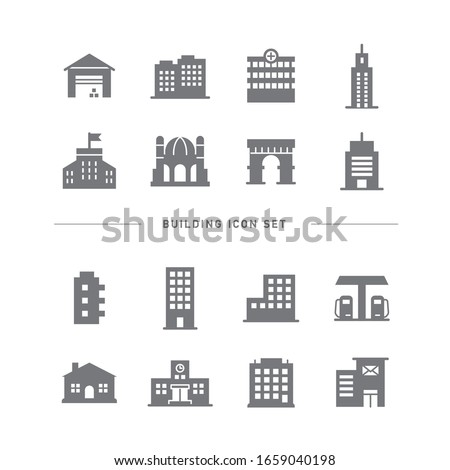 COLLECTION OF BUILDING FLAT ICONS Royalty-Free Stock Photo #1659040198