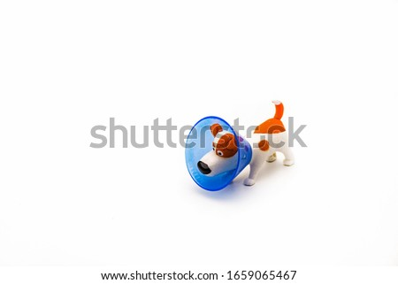 The dog toy wears an Elizabethan plastic cone medical collar around its neck to protect it from bitten wounds on white background