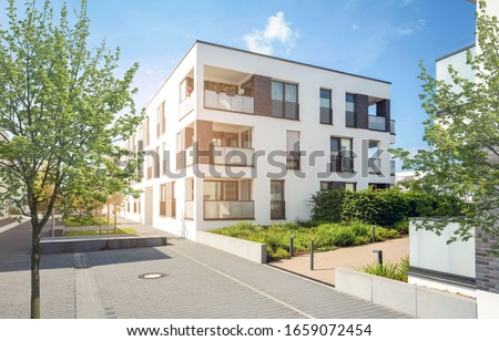 Residential area in the city, modern apartment buildings Royalty-Free Stock Photo #1659072454