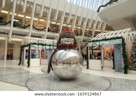 New York, NY/USA - December 11, 2019: Christmas decorations in the Oculus/World Trade Center Station at 70 Vesey Street in Manhattan. Editorial use only. #1659124867