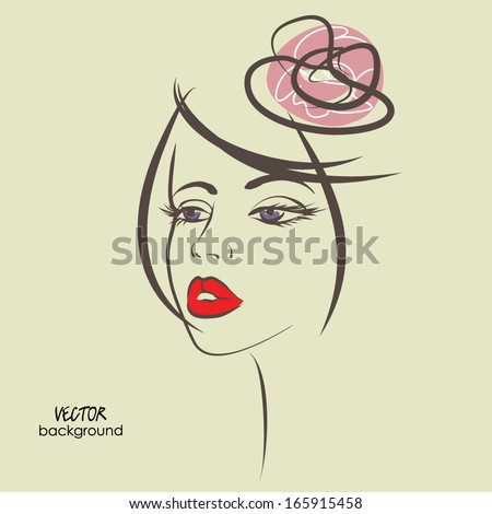 art sketched beautiful girl face with flower on hair, in vector #165915458