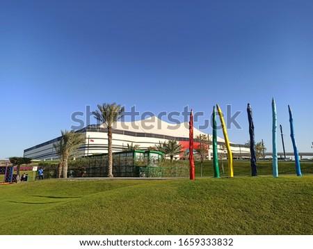 pencil statues in the park around Al Bayt Stadium in Al Khor Qatar #1659333832