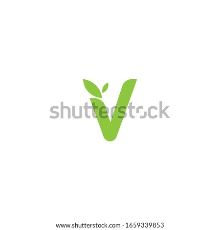 Simple Letter V Leaves Vector Royalty-Free Stock Photo #1659339853