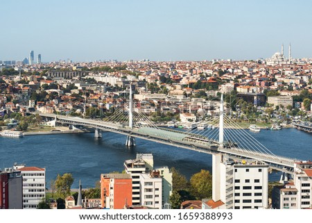 Istanbul, Turkey - September 05, 2019: Panoramic view of the historical center of Istanbul, Architecture on the banks of the Bosphorus Strait. #1659388993