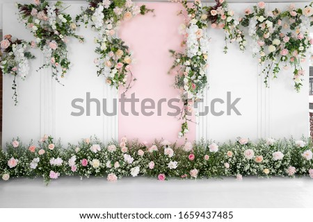 Beautiful wedding flower backdrop For taking pictures. Royalty-Free Stock Photo #1659437485