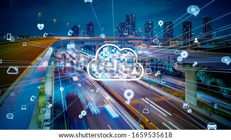 Cloud computing concept. Smart city. Communication network. #1659535618