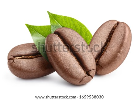 Fresh roasted coffee beans with leaves, isolated on white background #1659538030