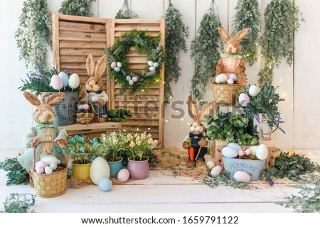 Easter backdrop for photo session. Easter Photography session. Easter mini session. Royalty-Free Stock Photo #1659791122