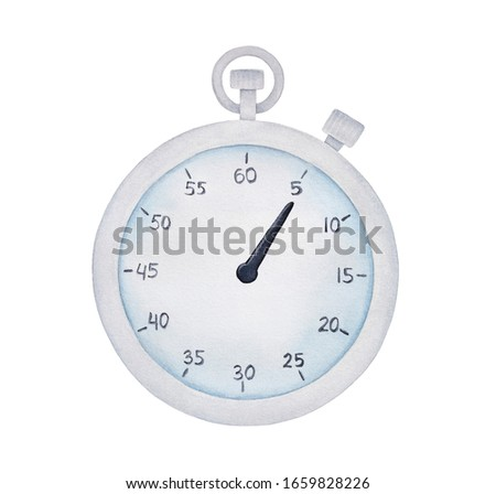 Watercolour illustration of classic clock timer. Symbol of express services, speed, deadline concept. Hand painted water color sketchy drawing on white, cutout clip art element for creative design.