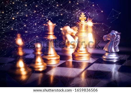 Innovation planing and planing idea  chess competition, business strategy  with financial connection line background. challenge and thinking battle concept #1659836506