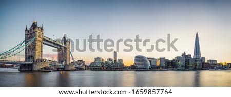 Panorama of Tower Bridge at sunset in London, UK