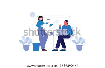 Employees discussing, business concept in office with people character illustration #1659890464