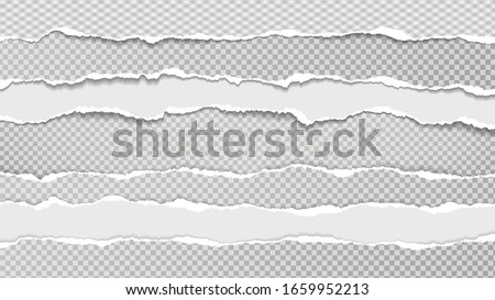 Torn, ripped pieces of white and grey paper with soft shadow are on grey squared background for text. Vector illustration Royalty-Free Stock Photo #1659952213