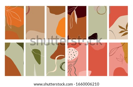Creative collage templates with leaves for media frame. Set of simple social print for media frame. Creative minimal templates for story with abstract pastel colorful shapes, scribble.   #1660006210