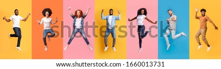 Collage of excited jumping multinational people in air on color background, panorama Royalty-Free Stock Photo #1660013731