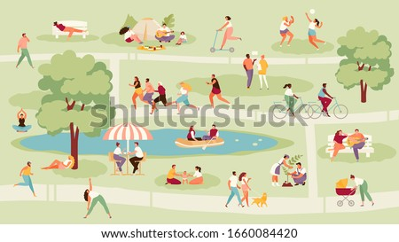 Large crowd of people in the park. Recreation, sport and outdoor activities vector illustration Royalty-Free Stock Photo #1660084420