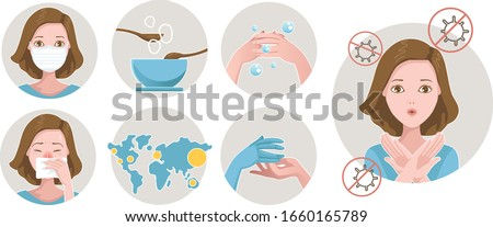 Prevent flu set. COVID-19 protection in infographic in a circle. Wear a mask, wash hands, rubber gloves, prevent coughing and sneezing. Plague prevention vector illustration. #1660165789