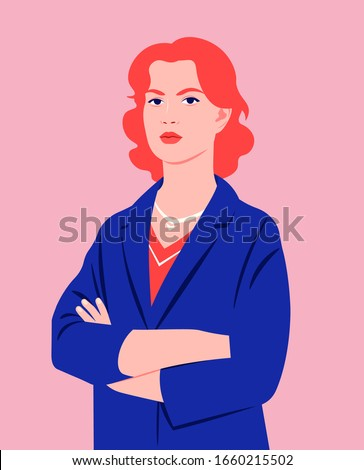 Portrait of a redhead woman with crossed arms  and wearing in a business suit. Office professions. Vector flat illustration.