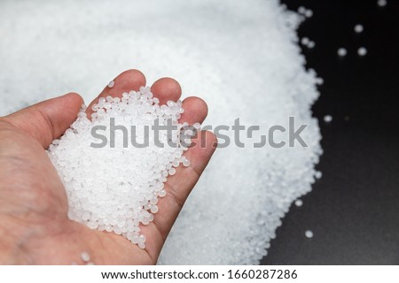 Close-up of plastic polymer granules. polymer plastic. compound polymer.plastic beads #1660287286