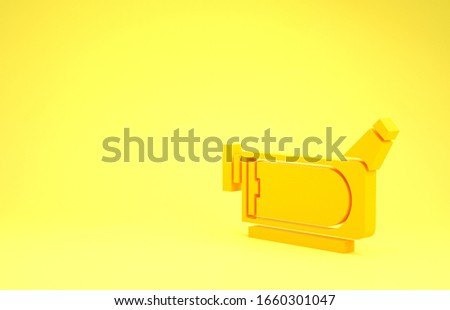 Yellow Cinema camera icon isolated on yellow background. Video camera. Movie sign. Film projector. Minimalism concept. 3d illustration 3D render #1660301047