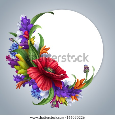 wild flowers round frame; poppy, cornflower, daisy; blank banner with floral border