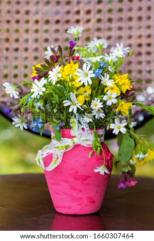 Beautiful Wild Spring Flowers and Daisies  in a Small Pink Vase  #1660307464
