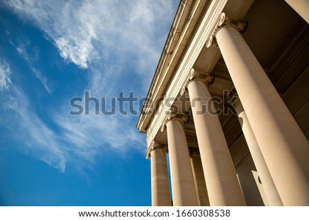 Federal building and a beautiful blue sky. Royalty-Free Stock Photo #1660308538