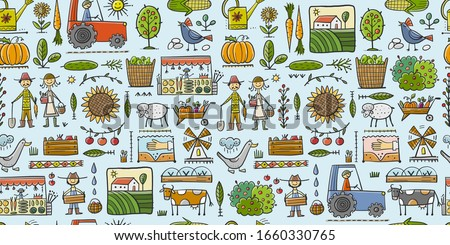 Organic Farm Seamless Pattern Background For your Design. Harvest Festival. Agriculture collection. Organic farming eco concept. Fresh products, locally grown and organic food. Farmer's Market. Vector #1660330765