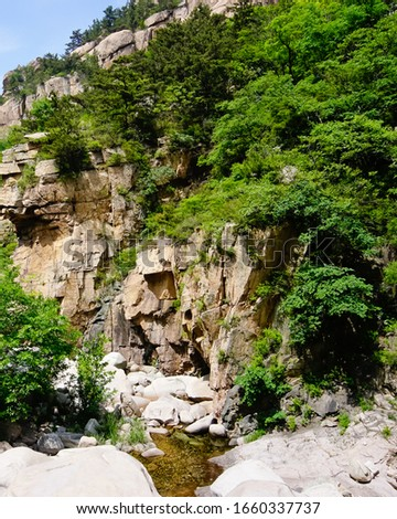 Forest covered stone cliff in beijiushui scenic area laoshan National Park Qingdao China  #1660337737