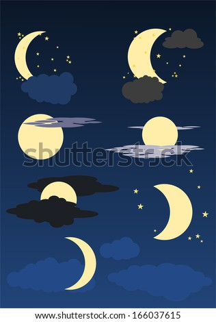 moon, stars and clouds on blue sky #166037615