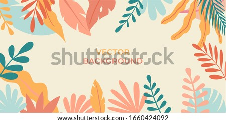 Vector illustration in simple flat style with copy space for text - background with plants and leaves - backdrop for greeting cards, posters, banners and placards Royalty-Free Stock Photo #1660424092