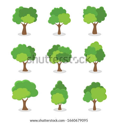 Green tree Fertile A variety of forms on the White Background,Set of various tree sets,Trees for decorating gardens and home designs.vector illustration and icon #1660679095