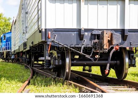 Railway freight train on the railway. Rail freight. Railway. Wagons #1660691368