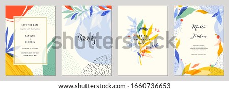 Set of modern wedding templates. Good for birthday, bridal and baby shower. Vector illustration. #1660736653